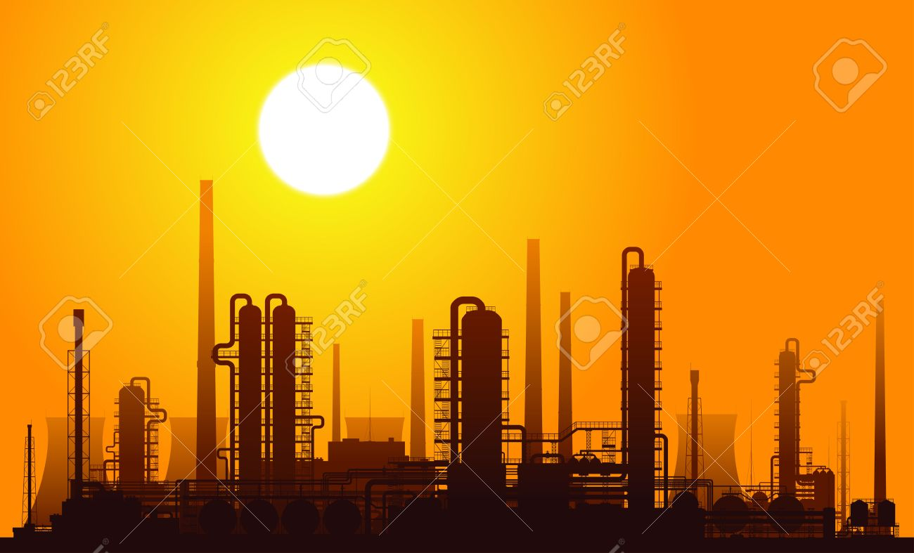 Oil refinery or chemical plant at sunset. Vector illustration. - 27987134