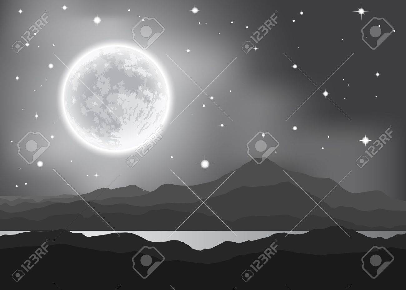 Full Moon over mountains and lake. Night landscape. - 30906844