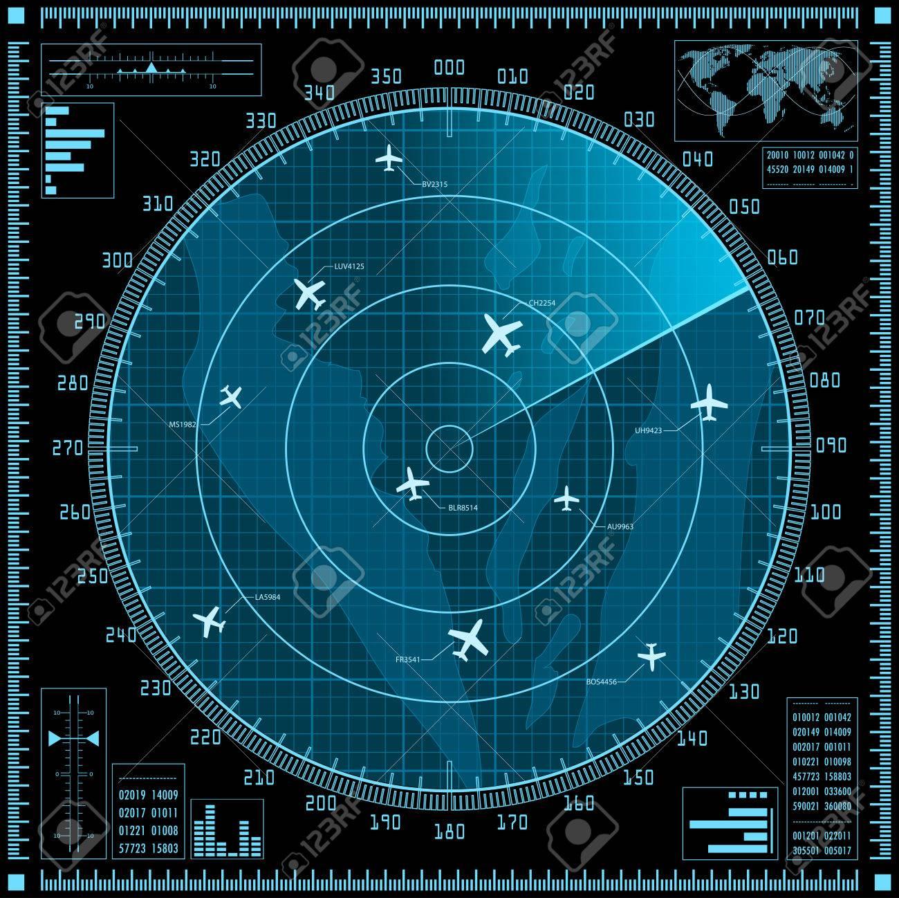 Blue radar screen with planes. - 30906387