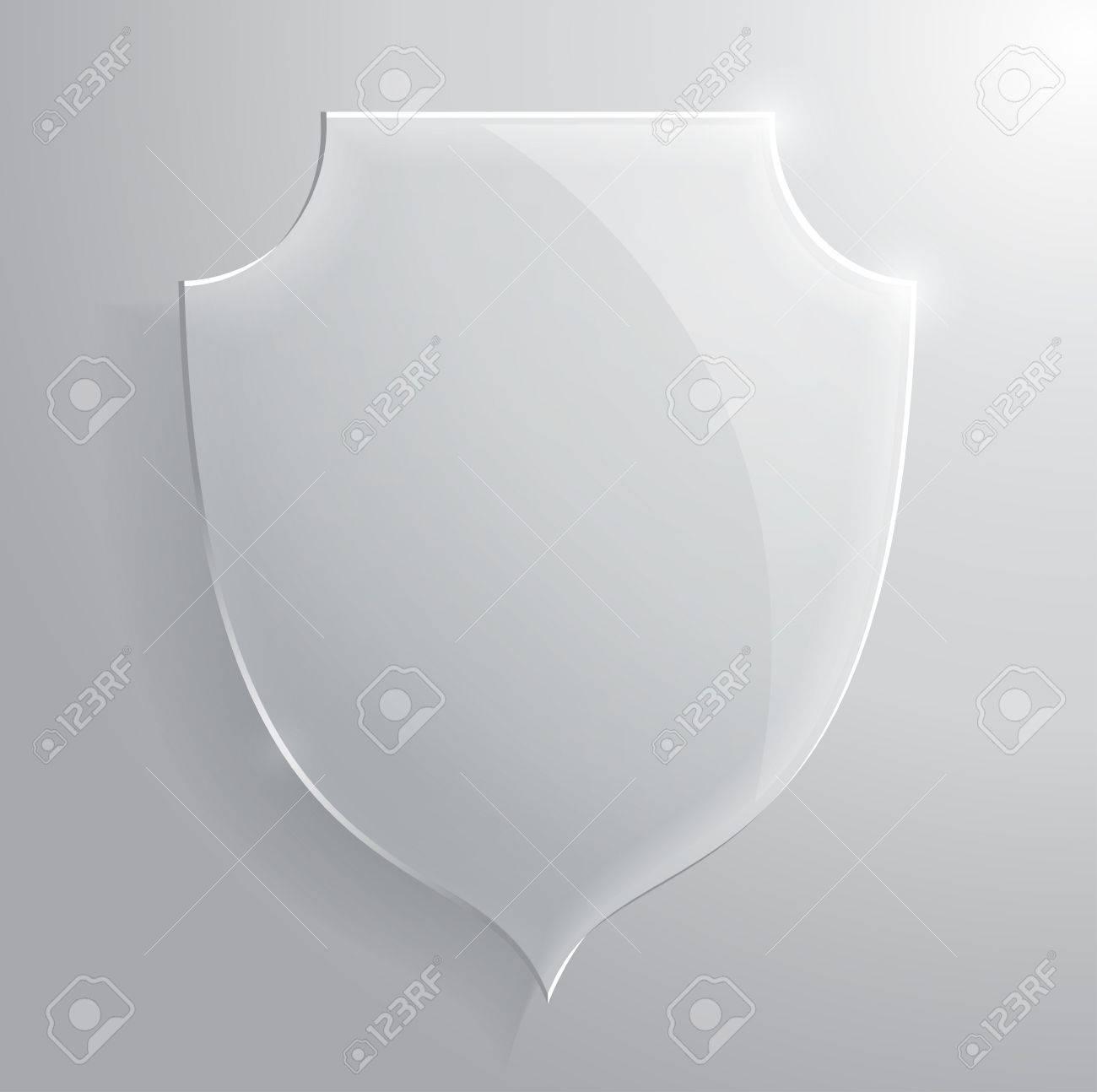 Glass transparent shield. Vector illustration. - 30917843