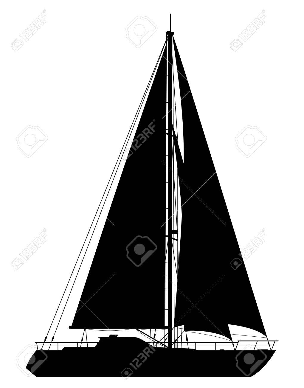 Yacht. Detailed vector illustration of black yacht isolated on white background. - 30936859