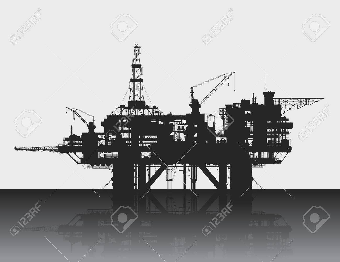 Sea oil rig. Oil platform in the deep sea. Detailed vector illustration. - 33102699
