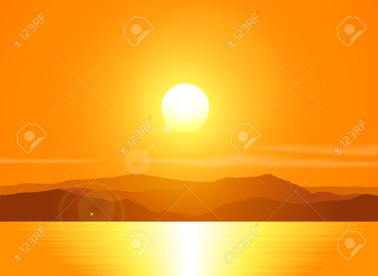 Landscape with sunset at the seashore over mountain range. Vector illustration. - 39250275