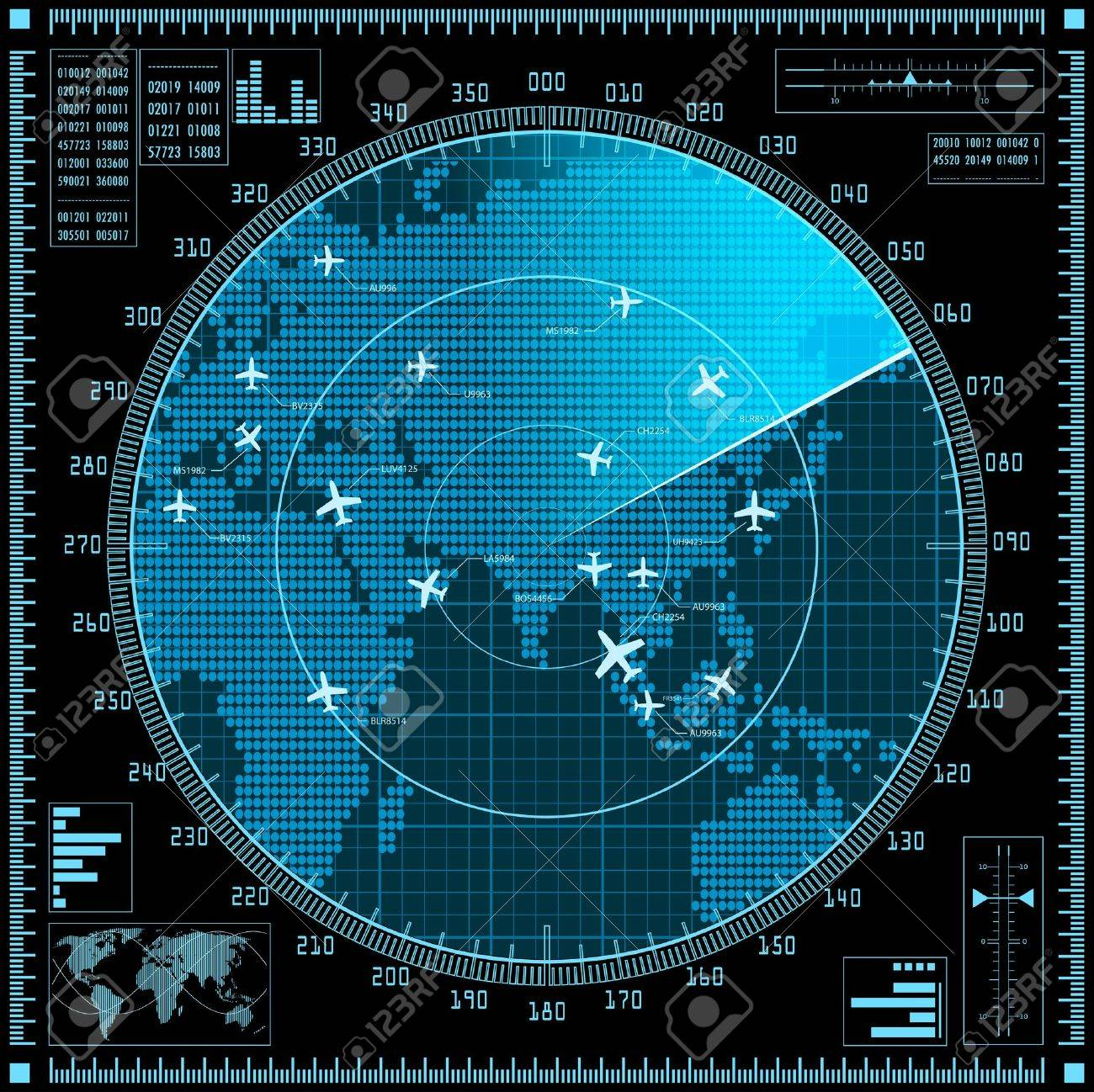 Blue radar screen with planes and world map. - 38988515