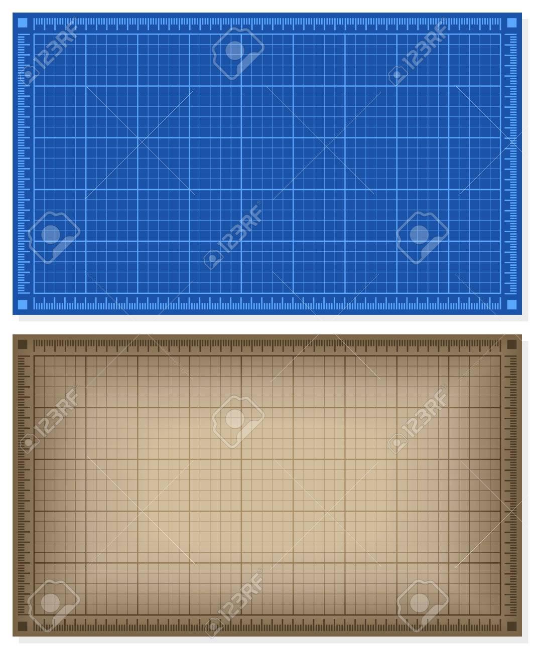 Set Von Blueprint Hintergründe - Blau Und Braun. Vektor-Illustration ...
