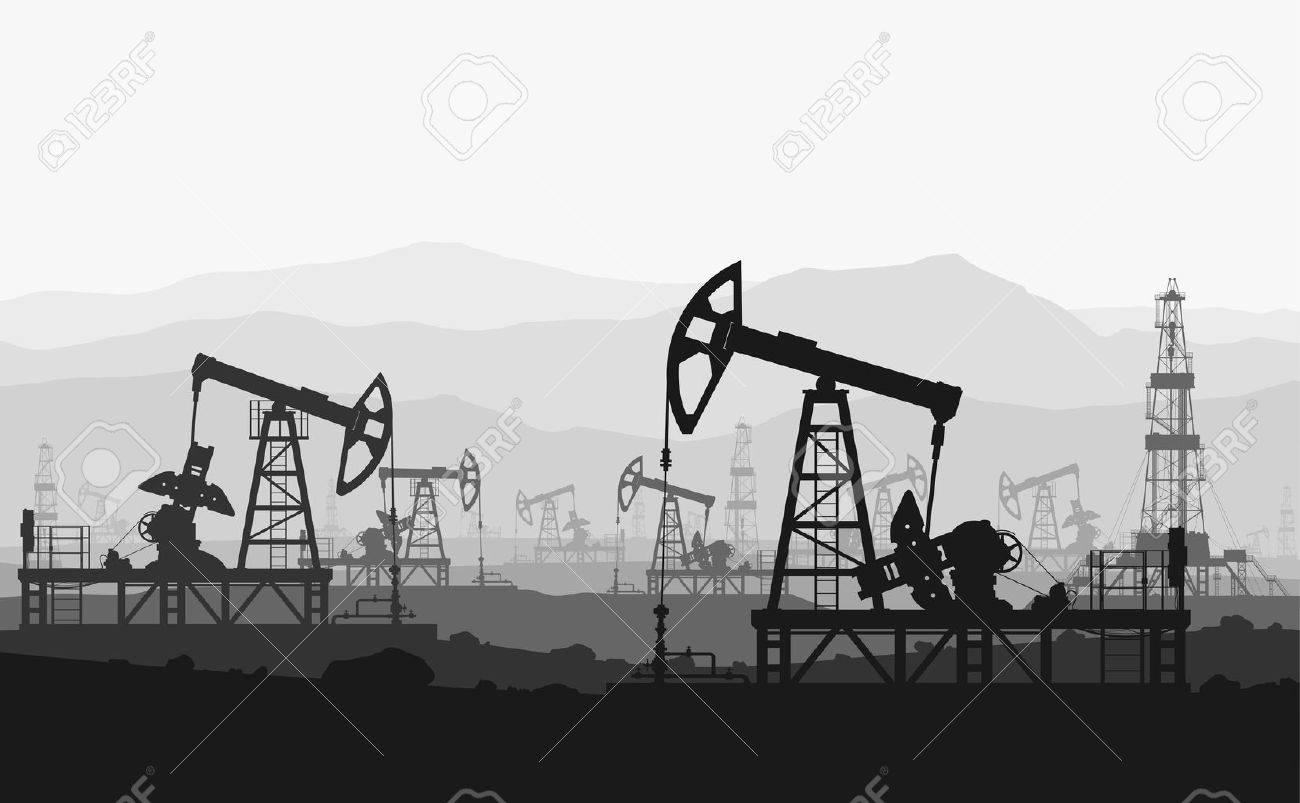 Oil pumps at large oilfield over mountain range. Detail vector illustration. - 41364169