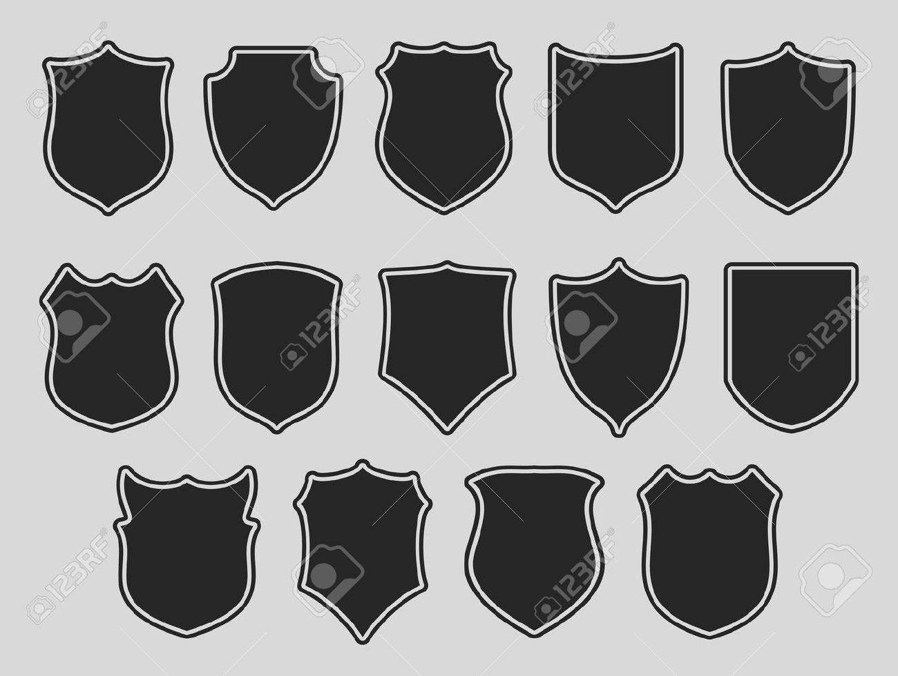 Set of shields with contours over grey background. Vector illustration. - 41364173