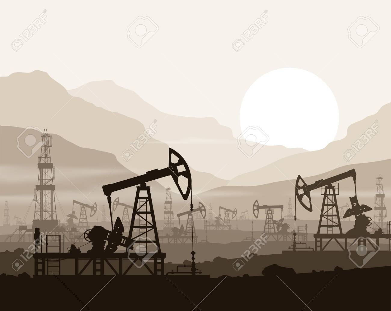 Oil pumps and rigs at large oilfield over sunset in huge mountains. Detail vector illustration. - 42268617