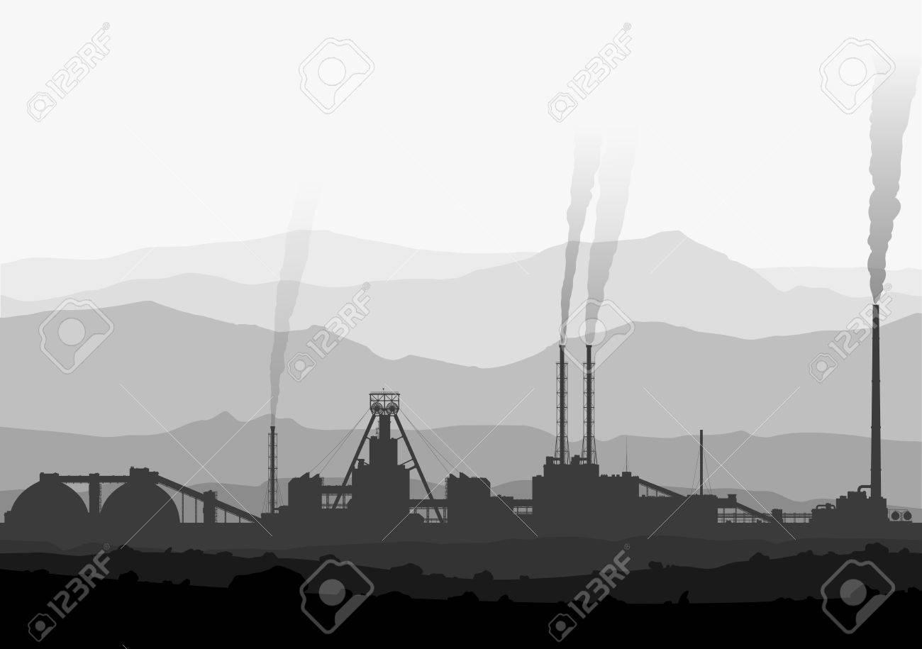 Detail illustration of large smoking manufacturing plant - 43936747