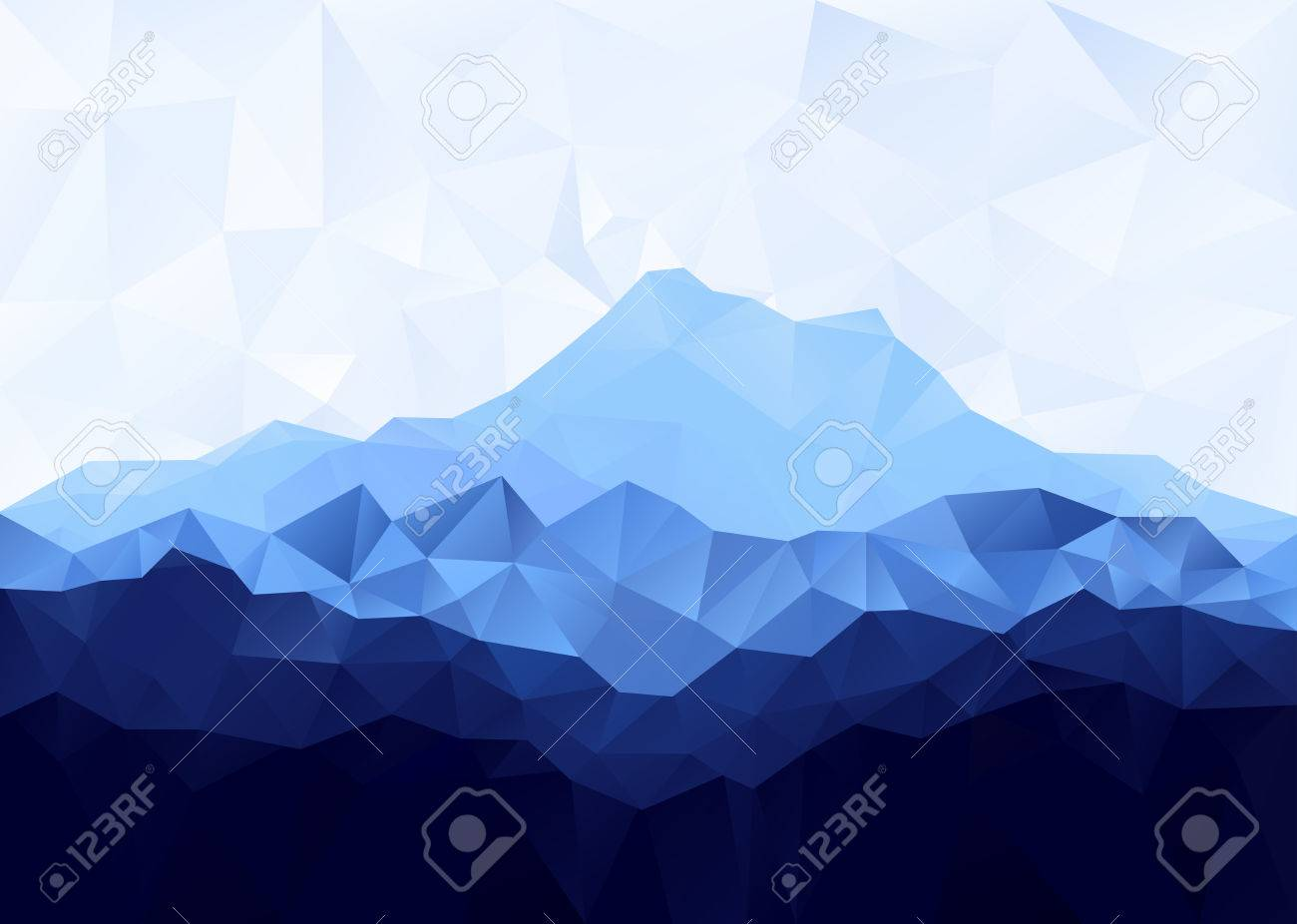 Triangle geometrical background with blue mountain range . Vector illustration. - 44308491