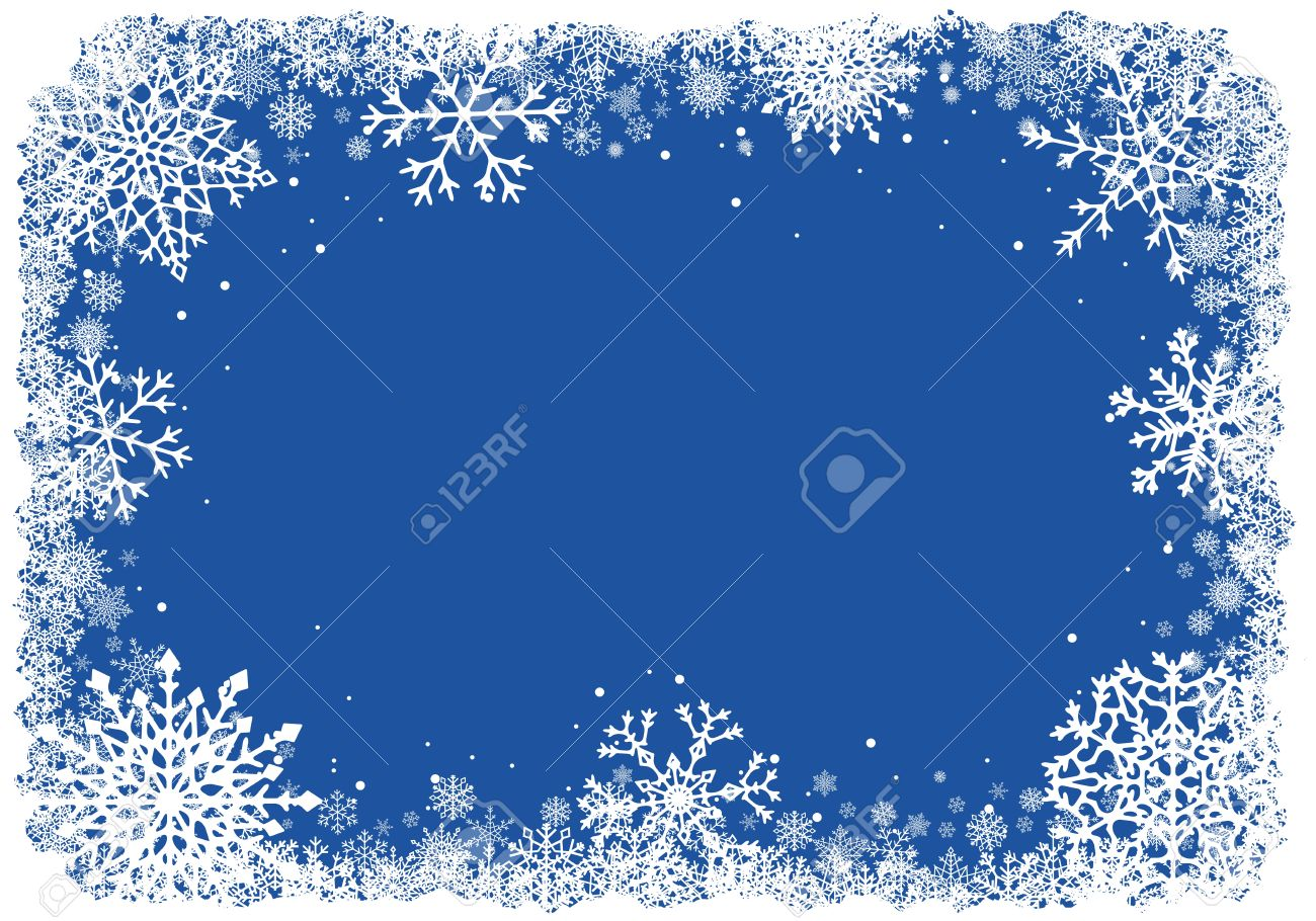 Christmas frame with snowflakes over blue background. Vector. - 49828356