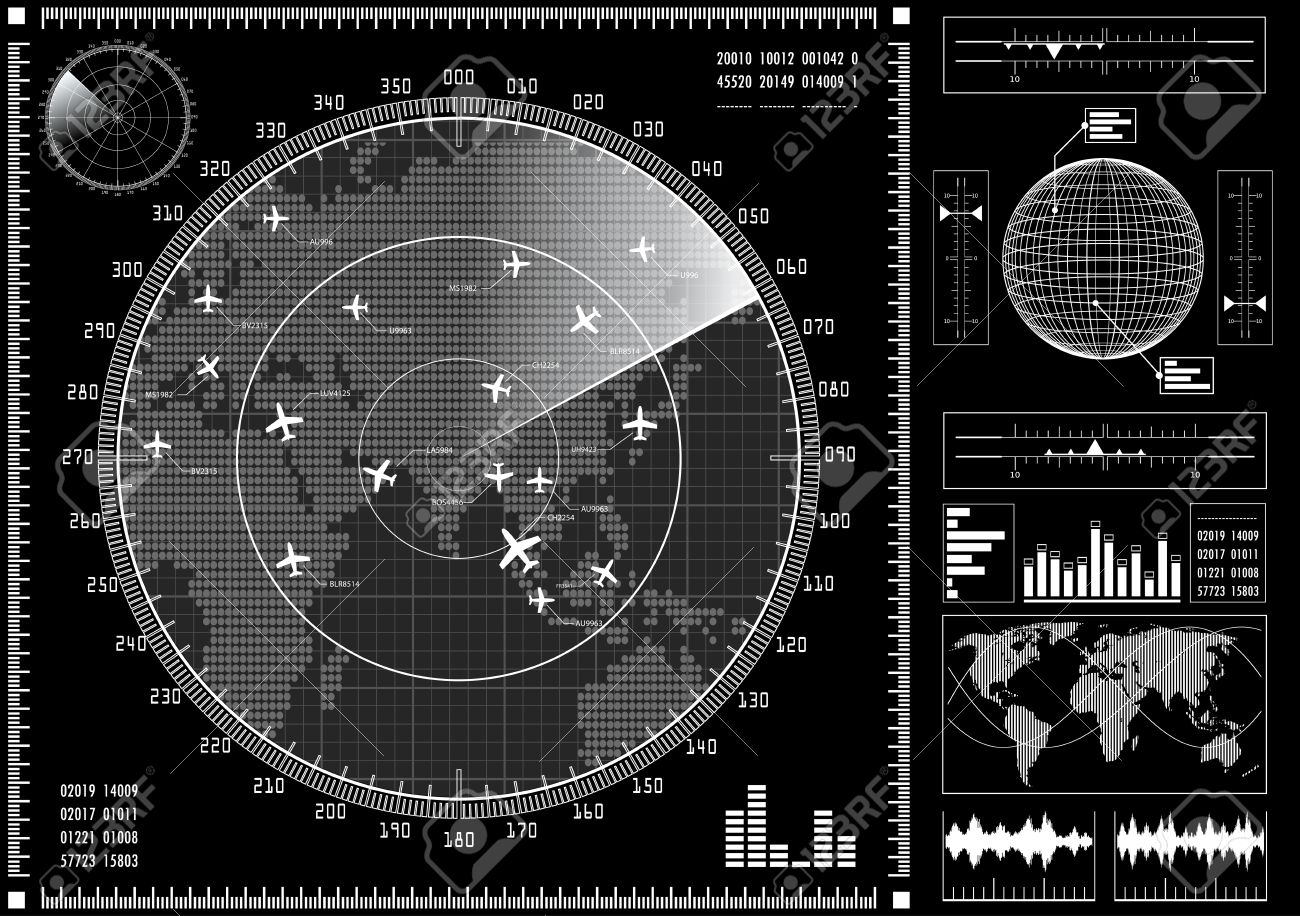 Radar screen with planes and futuristic user interface HUD. Black and white infographic elements. Vector illustration. - 51269991