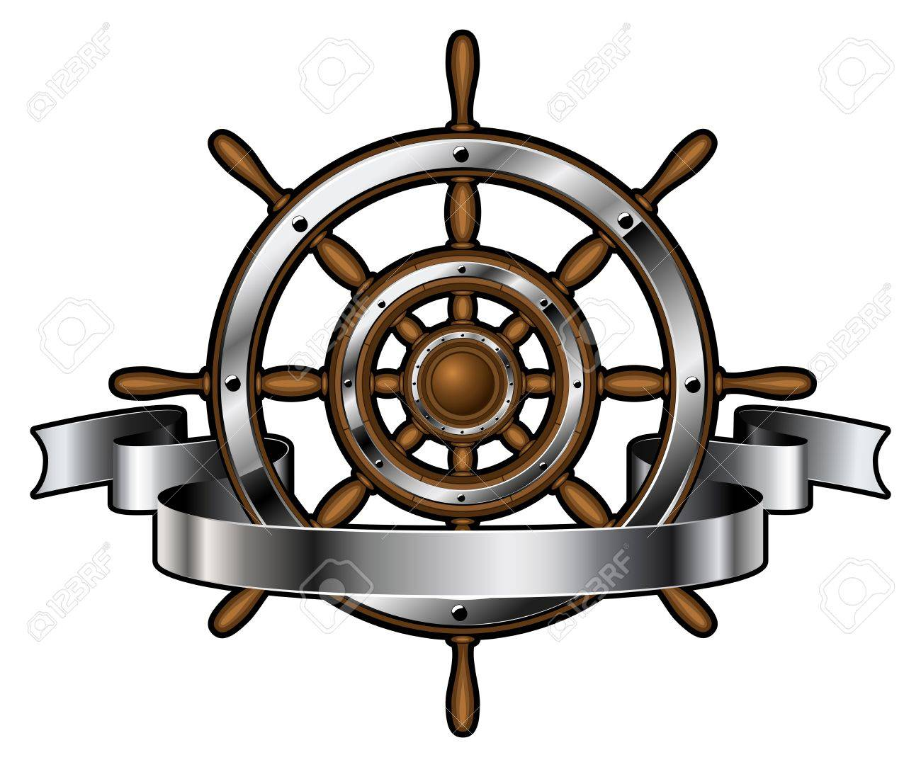 Ship wooden and steel steering wheel corporate emblem with banner isolated on white background. Navigation symbol. Vector illustration. - 52416655