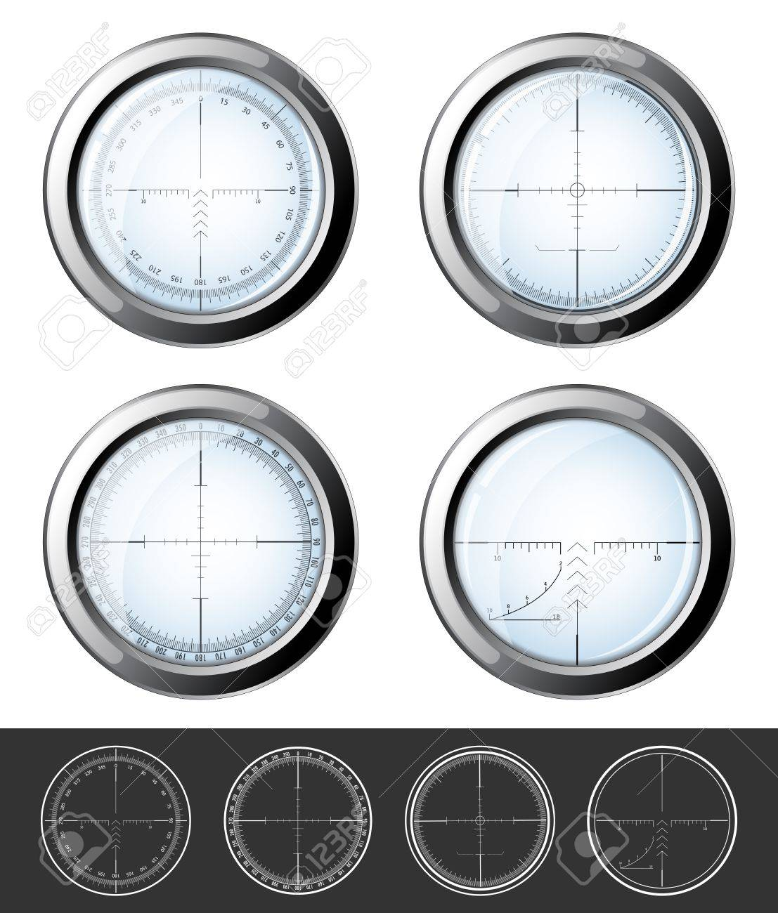 Set of military design elements - crosshair sniper scopes isolated