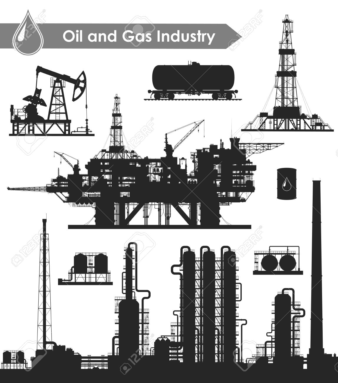 Set of oil and gas industry silhouettes  Oil refinery, offshore