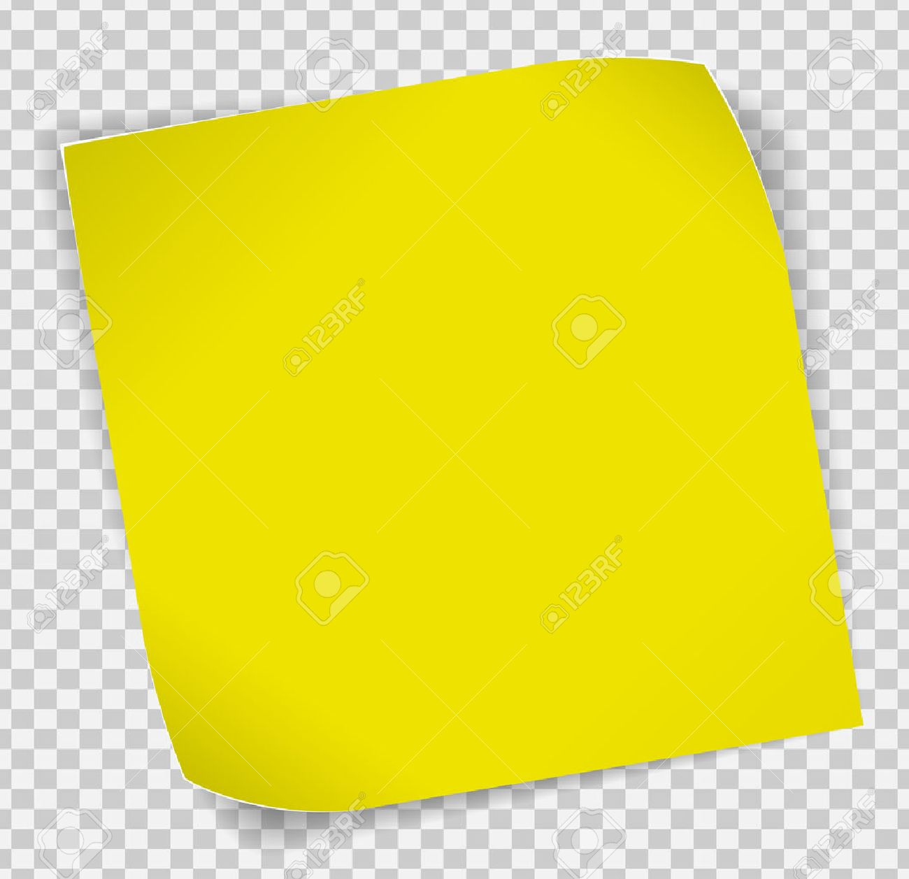 Yellow paper curled sticker with shadows over transparent background. - 55958064