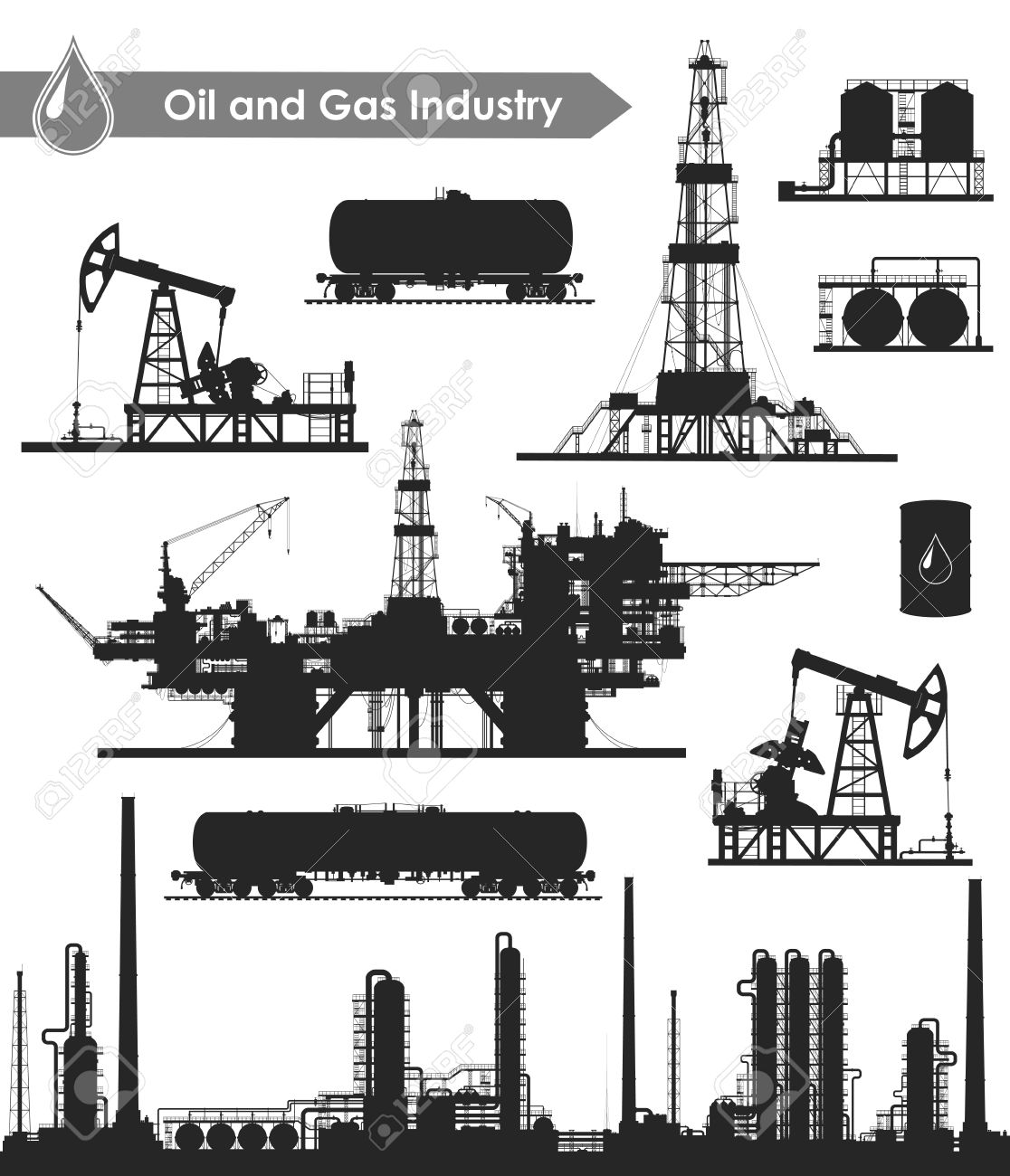 Set of oil and gas industry silhouettes. Oil refinery, offshore sea oil drilling rig, land oil drilling rig, oil pumpjack, barrel and railroad oil tank. Vector illustration. - 67482810