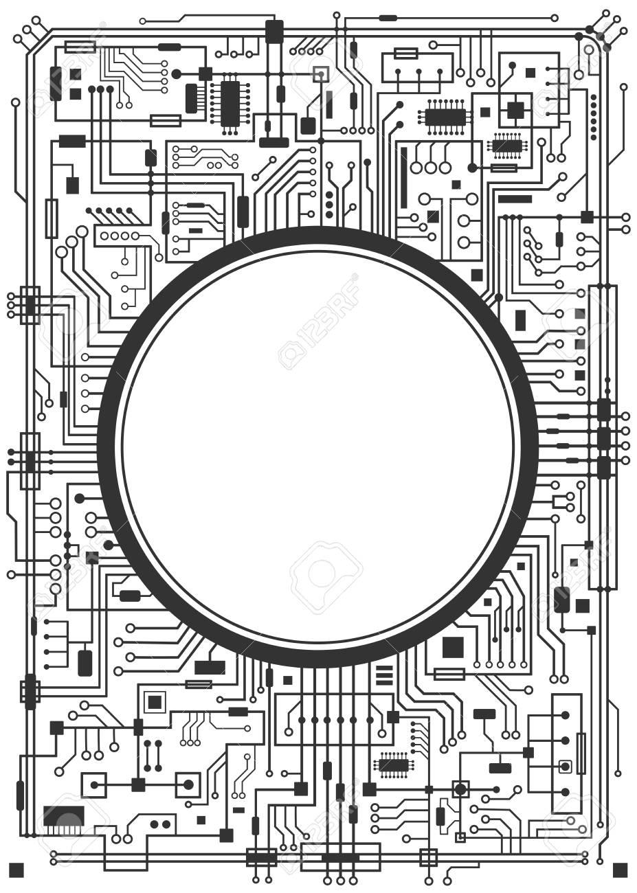side vector circboard wiring diagram computer circuit board with copy space vector black illustration  computer circuit board with copy space