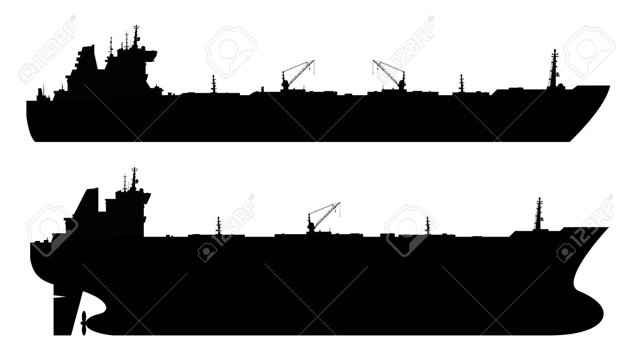 Set of 2 oil tankers isolated white background. - 132069484
