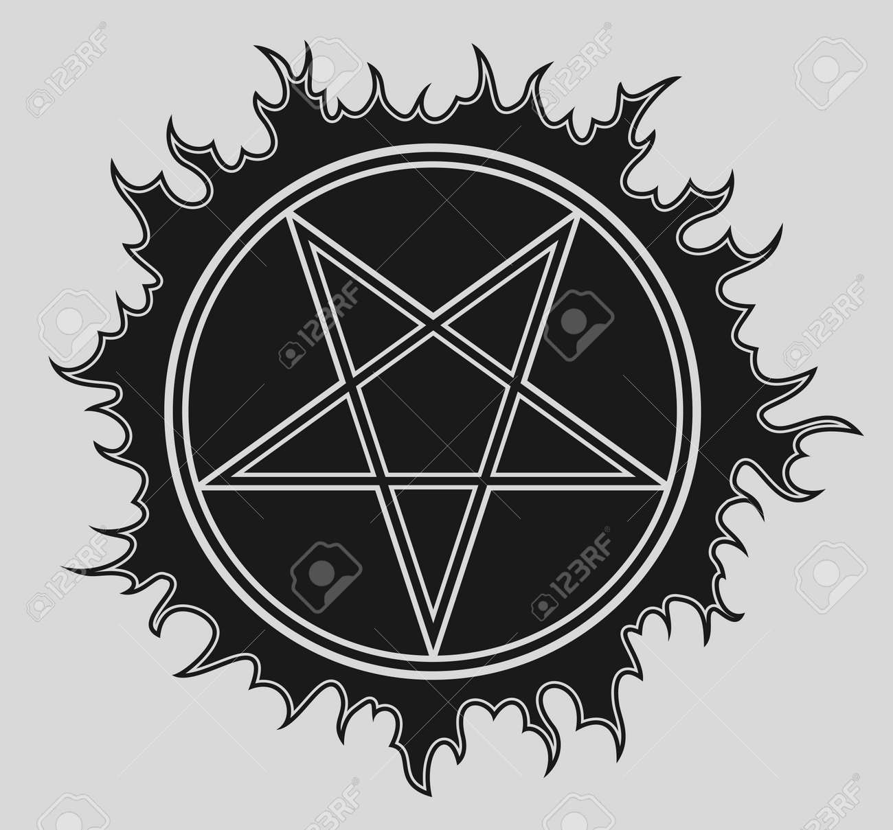 Pentagram vector icon on black star - 156464005