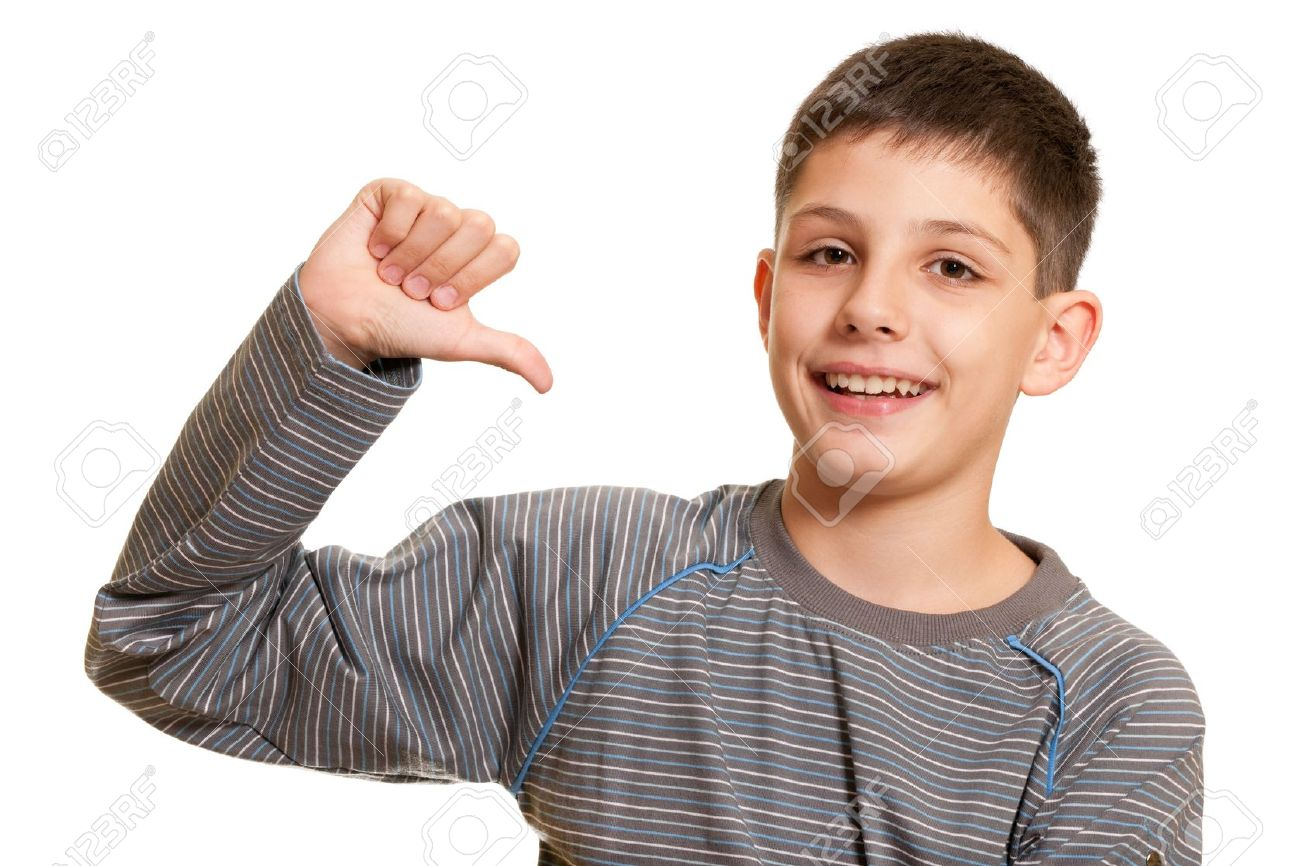 A boy is pointing at himself; isolated on the white background Stock Photo - 8131686