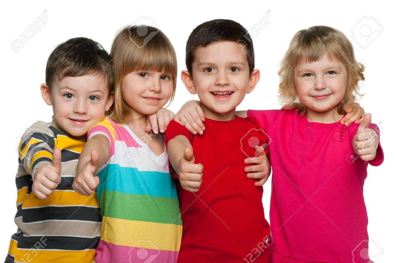 Four Children Are Standing Together; Isolated On The White ...