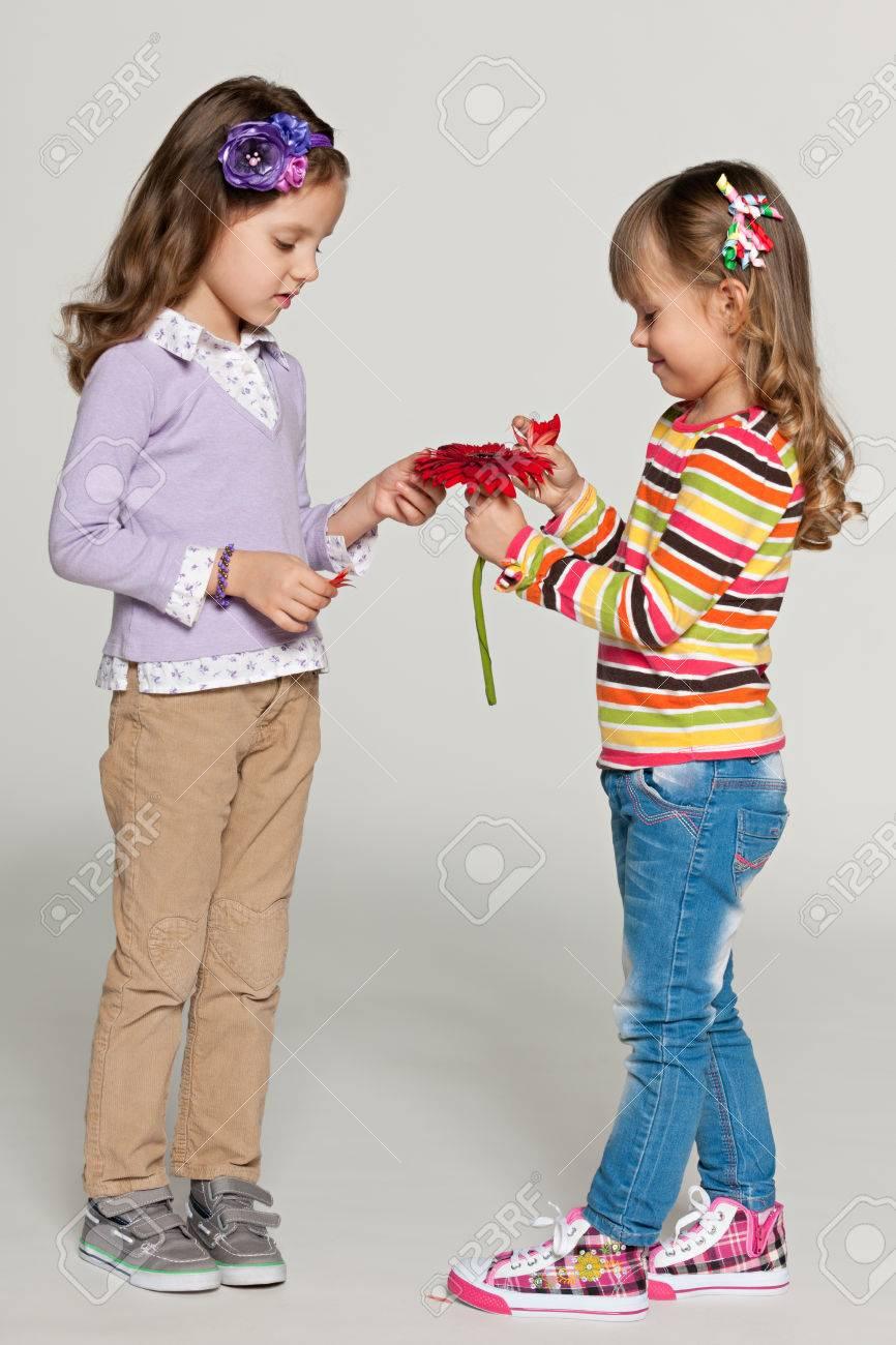 malé dívky Docela malé dívky trhat sedmikrásky lístky růží na šedém pozadí Reklamní  fotografie - 26539957