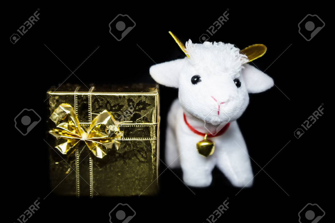 White Goat Or Sheep Toy The Chinese Symbol Of 2015 Year With Stock