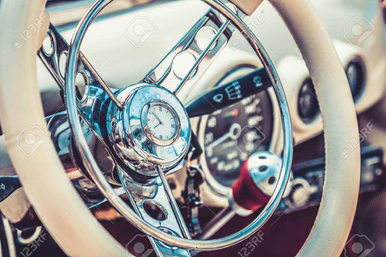 Steering Wheel In Interior Of Retro Old Or Vintage Automobile ...