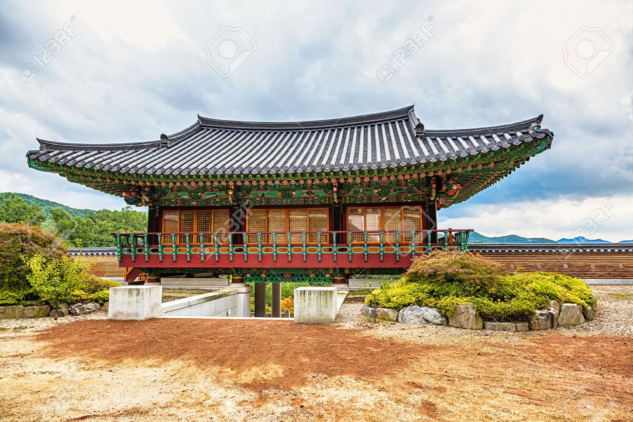 Traditional Korean Architecture Old Building Or Monks Temple In South Korea At Autumn Stock Photo
