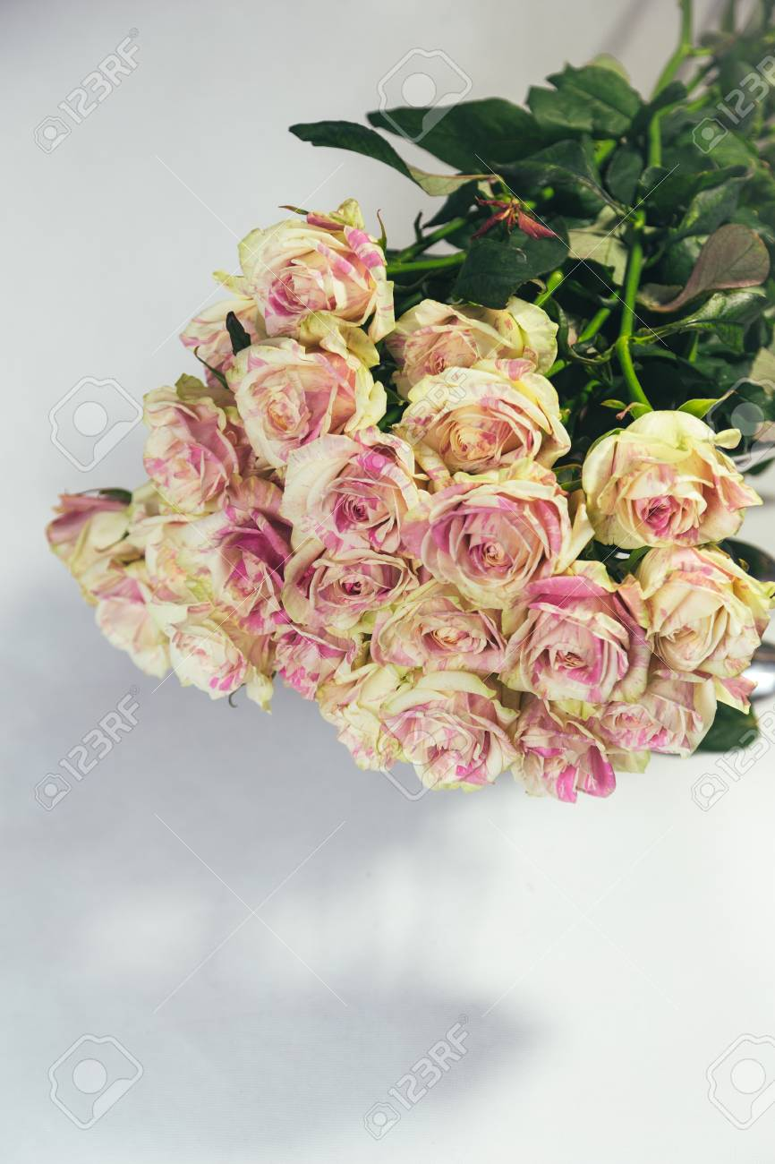 Bouquet Of Multi Colored Yellow And Pink Roses Upside Down Isolated