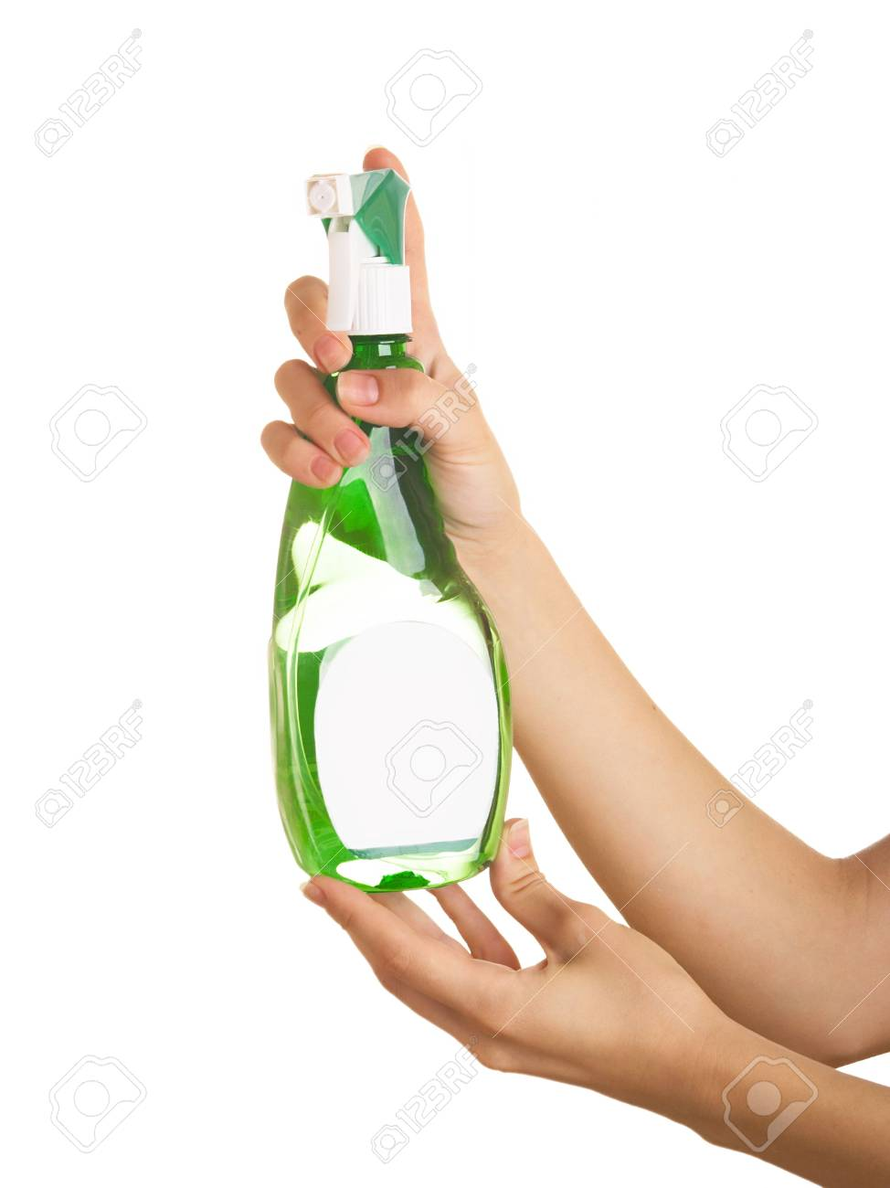 Spraying deodorant on a white background in female hands Stock Photo - 5311065