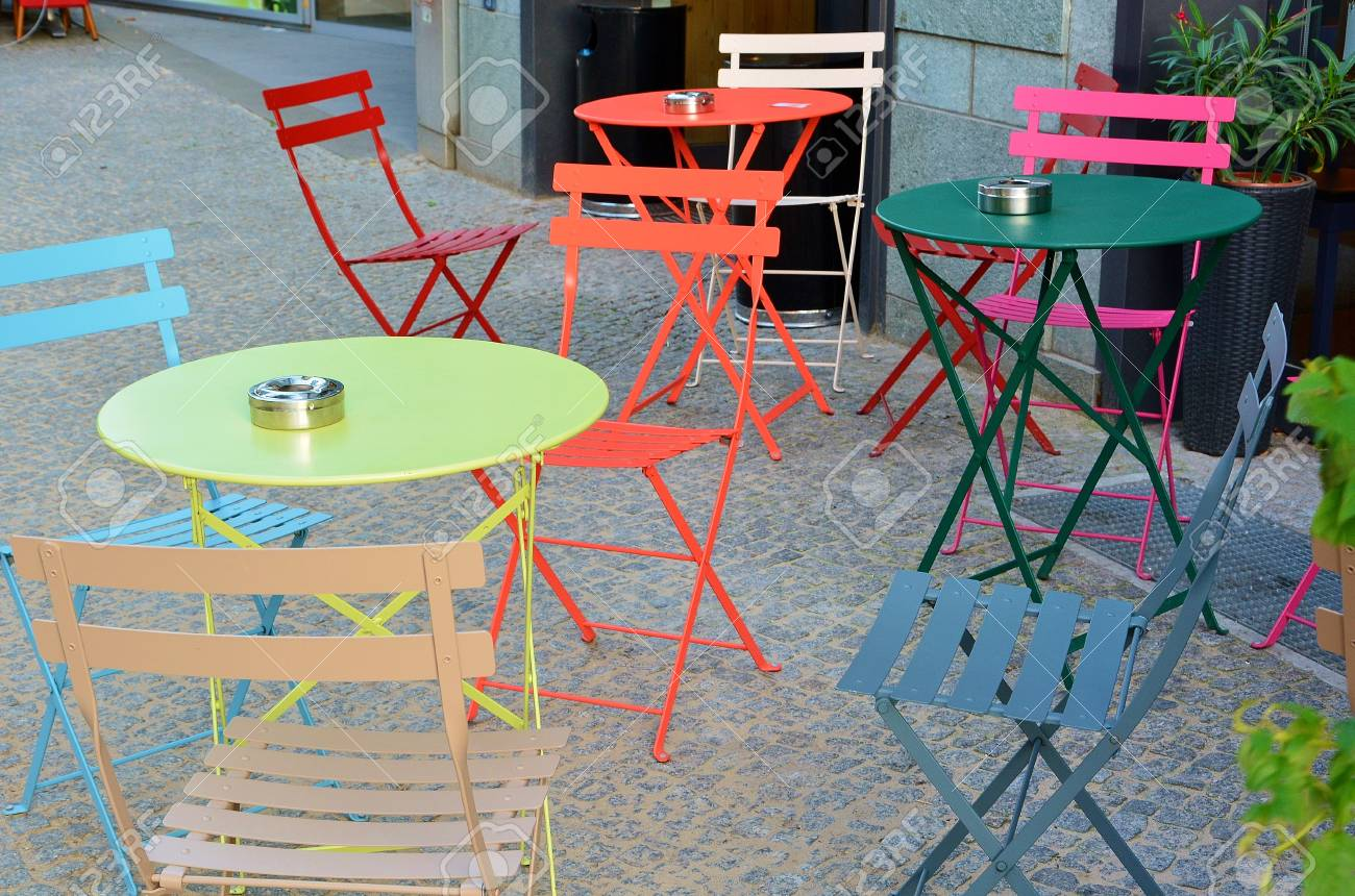Empty Outdoor Street Cafe With Colorful Tables And Chairs Stock Photo Picture And Royalty Free Image Image 34880832