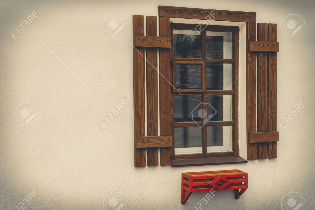 Wooden Window With Shutters And Red Flower Boxes Stock Photo Picture And Royalty Free Image Image 69447682