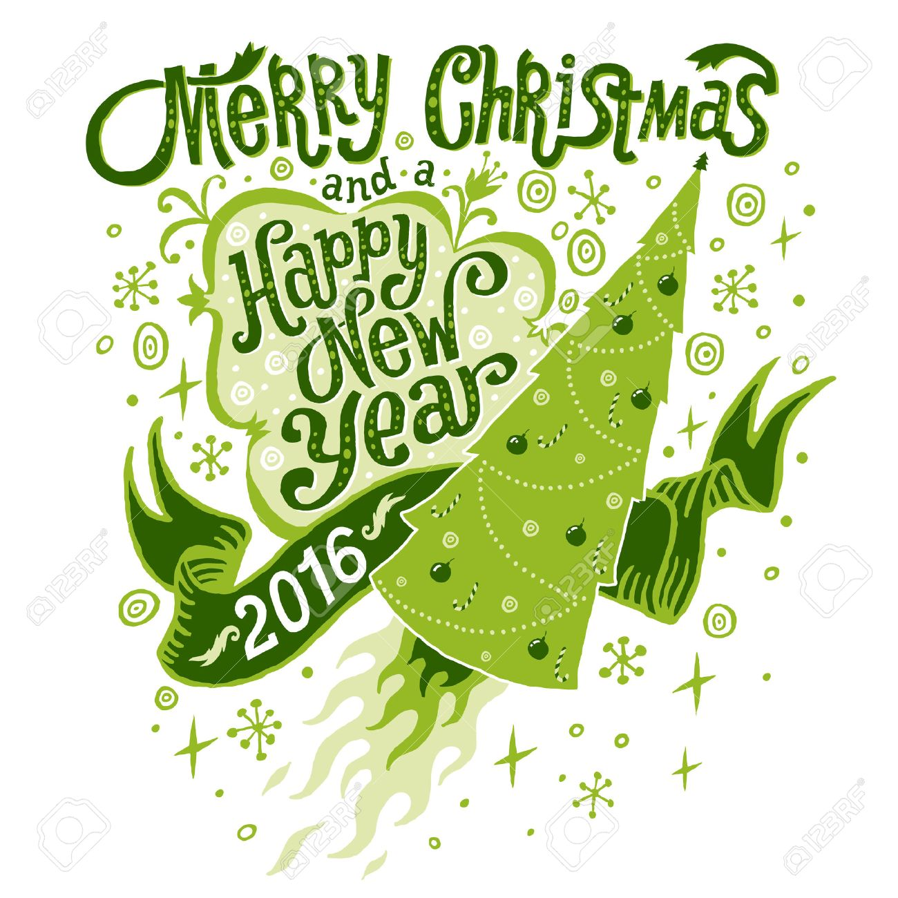 Merry Christmas And Happy New Year 2016 Greeting Card Isolated