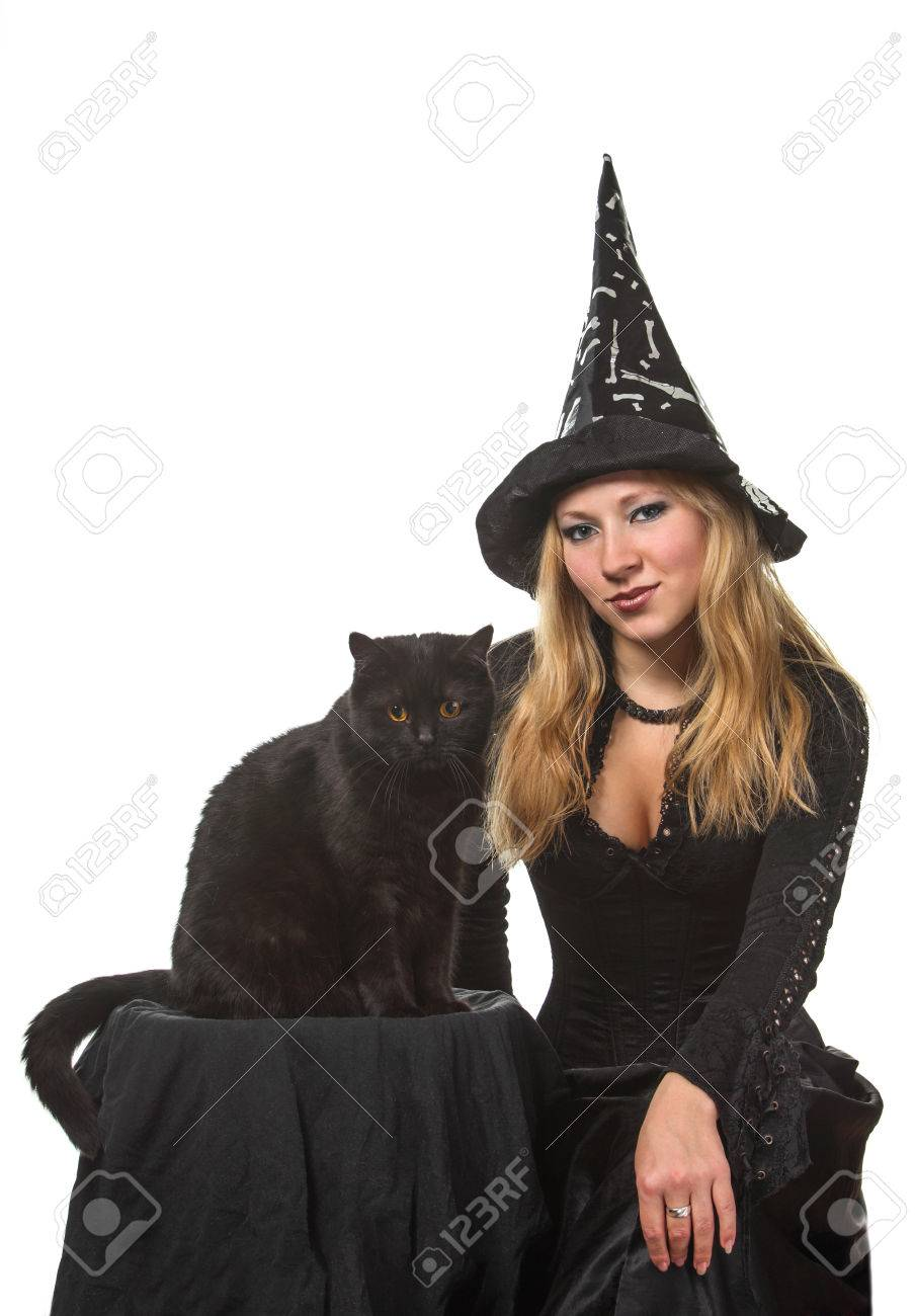 A young woman in a witch costume with a black cat Stock Photo - 22576932  sc 1 st  123RF.com & A Young Woman In A Witch Costume With A Black Cat Stock Photo ...