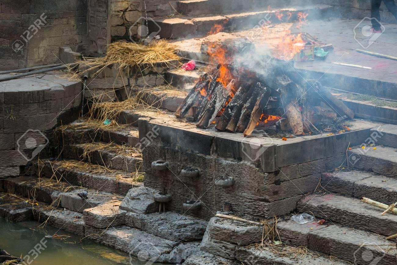 KATHMANDU, NEPAL-APRIL 25: Cremation in Pashupatinath 25, 2016