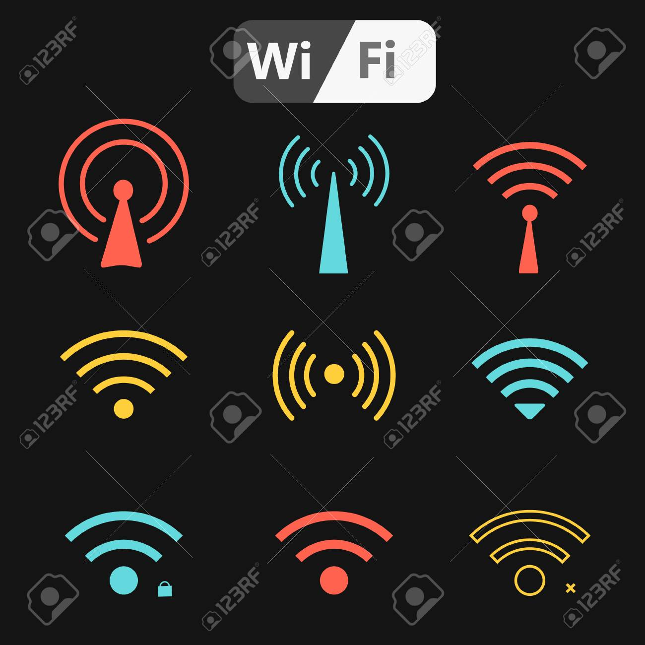 set of four wifi icons for business or commercial use royalty free