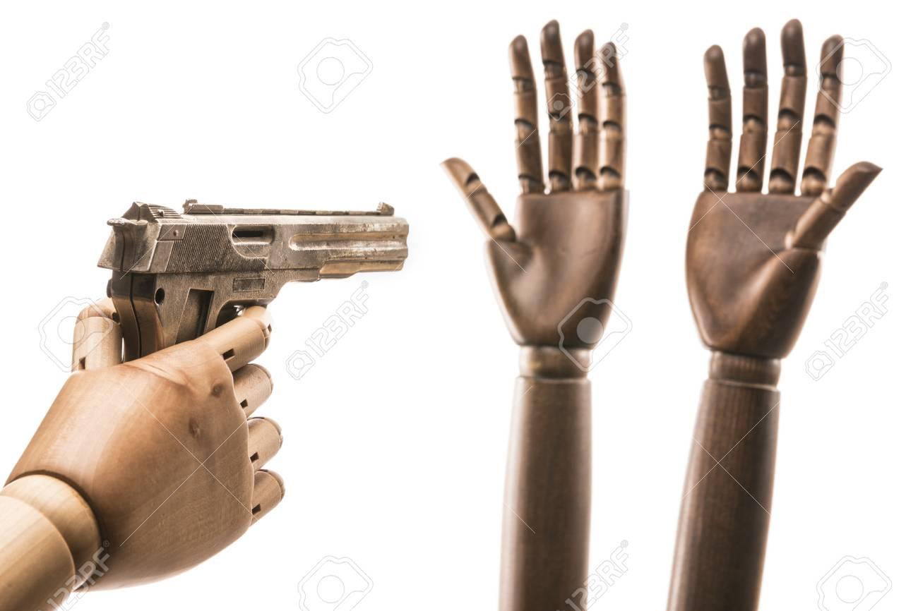 Iki Siyah Eller Beyaz Bir Elin Taklit Ettiği Bir Silah Tehdidinden