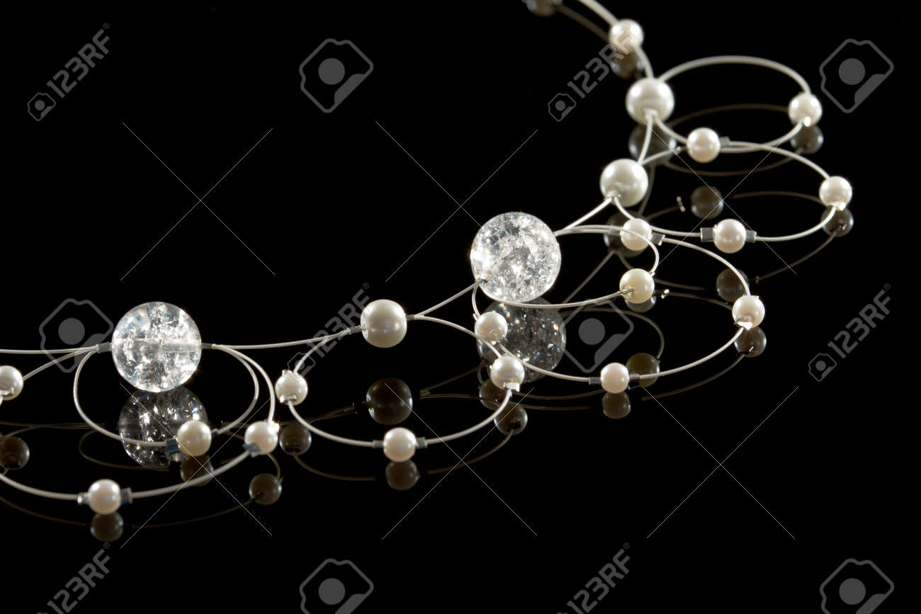 Necklace on a black background. Hand made. Stock Photo - 13321683
