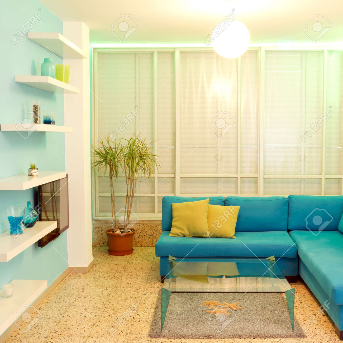 Interior design in a new house  Different colors of lighting Stock Photo - 15217324