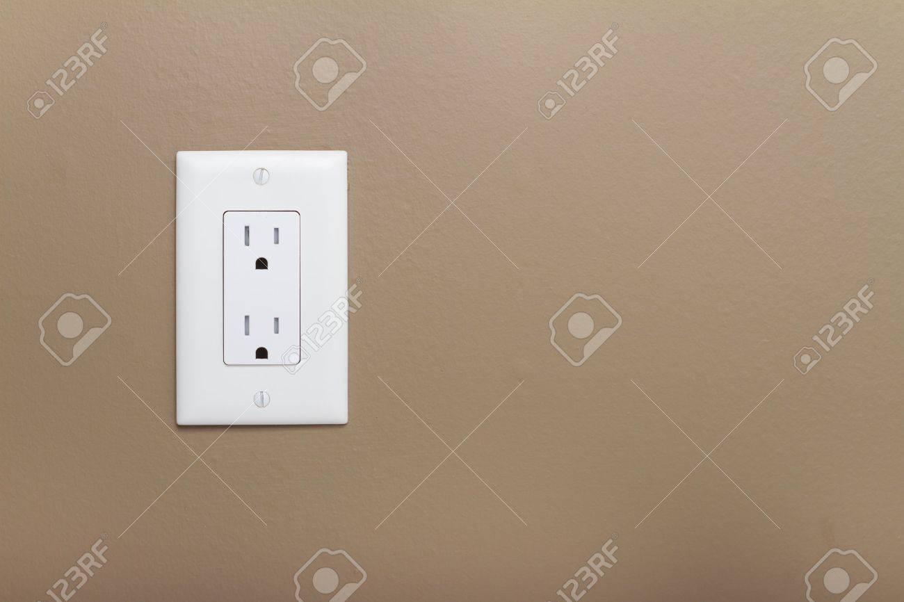Household Electrical Outlet On Wall. Power 110v Stock Photo, Picture ...