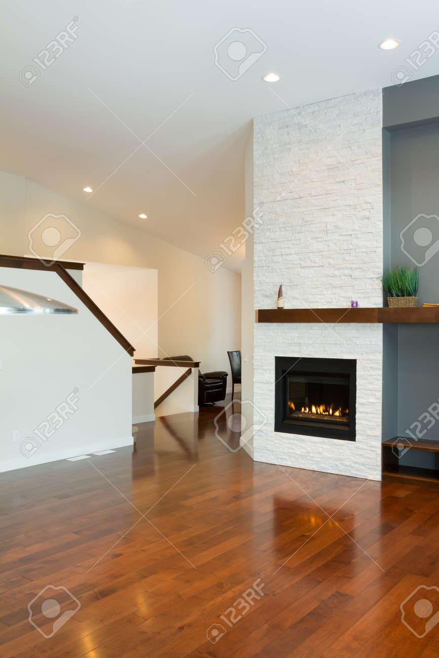 Design d\'intérieur de salon moderne avec cheminée dans une maison neuve