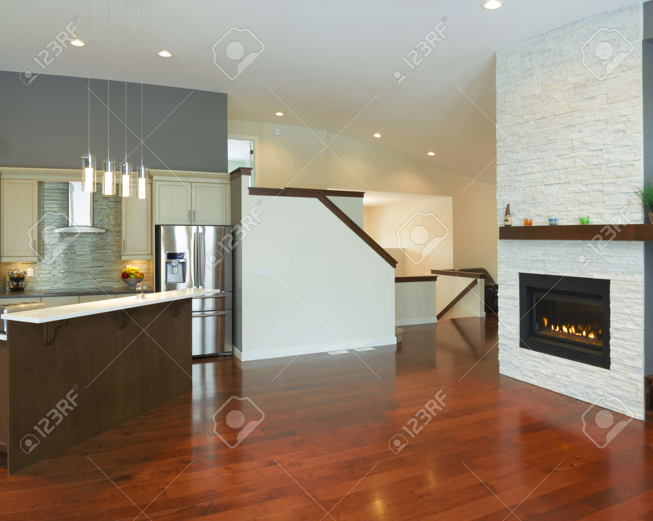 Interior kitchen design with fireplace in a new house Stock Photo - 17533144