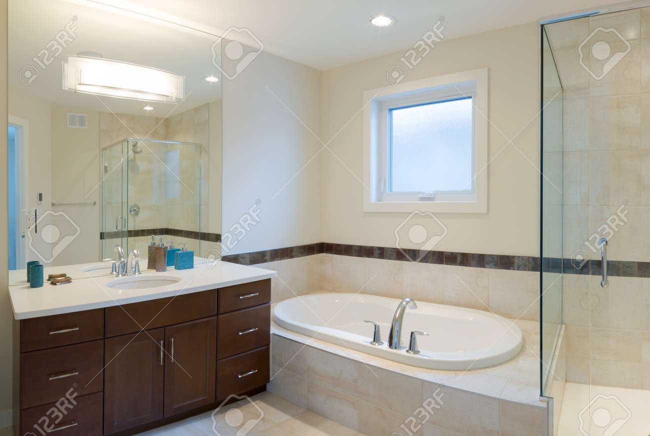 Interior design of a bathroom  in new house Stock Photo - 17658250
