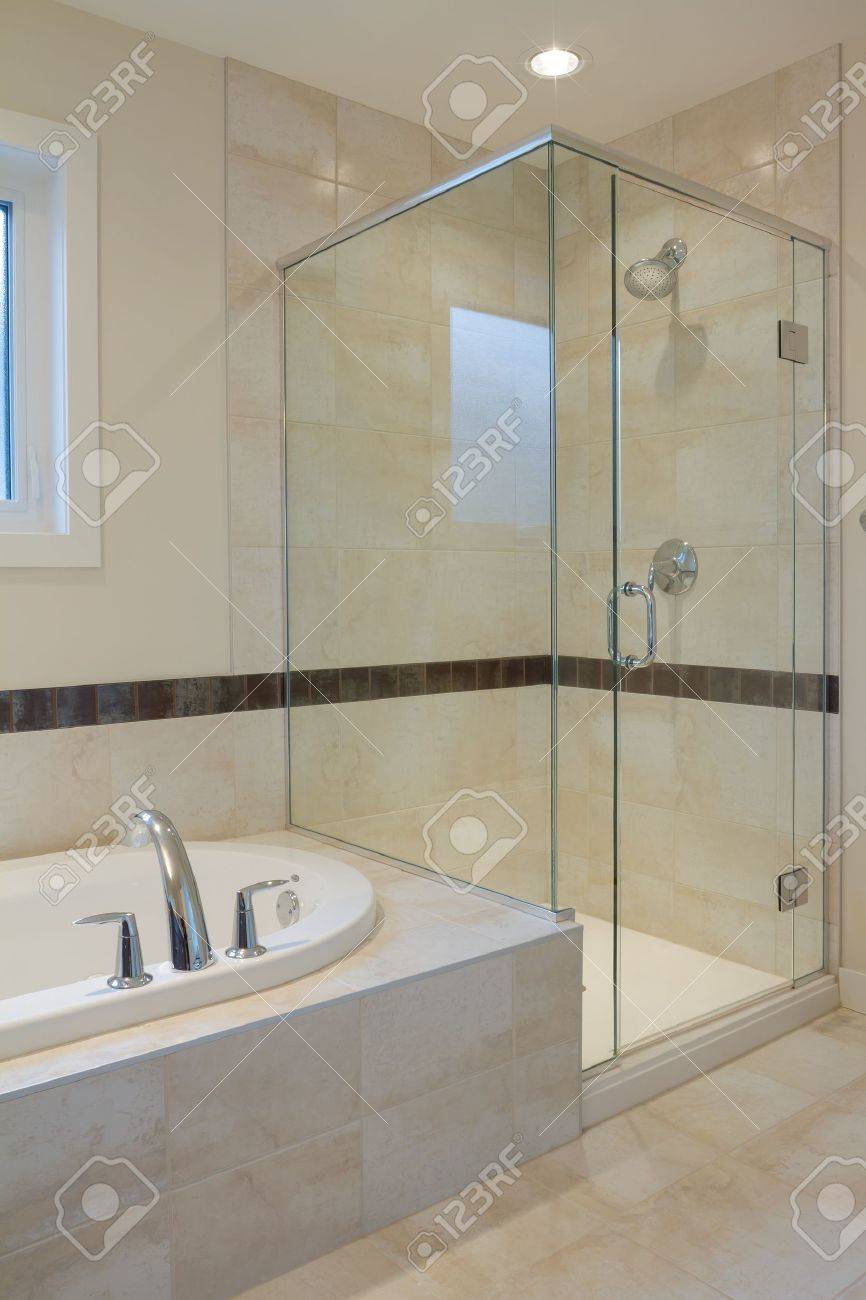 interior design of a bathroom in new house stock photo picture