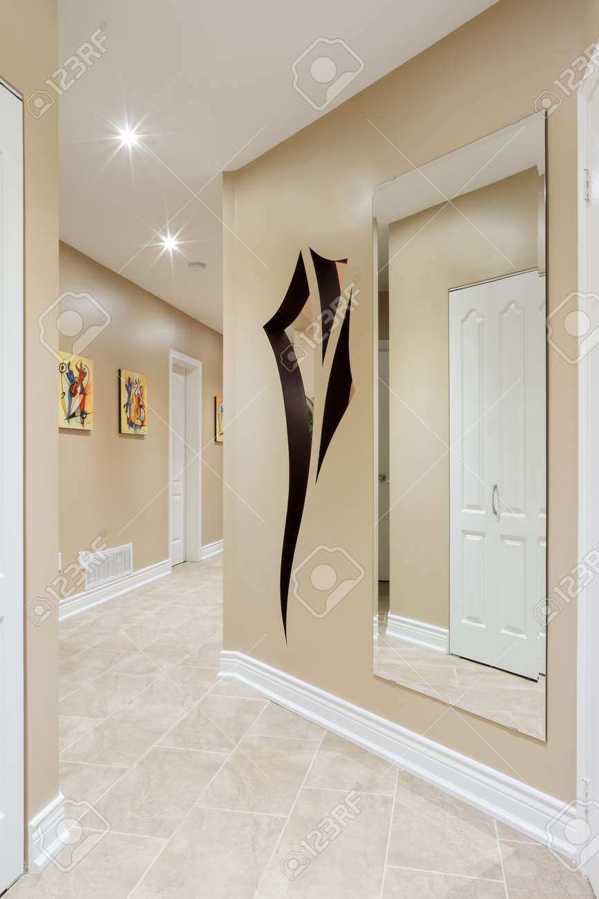 Hallway interior in a new house  with art design on the wall Stock Photo - 22348771