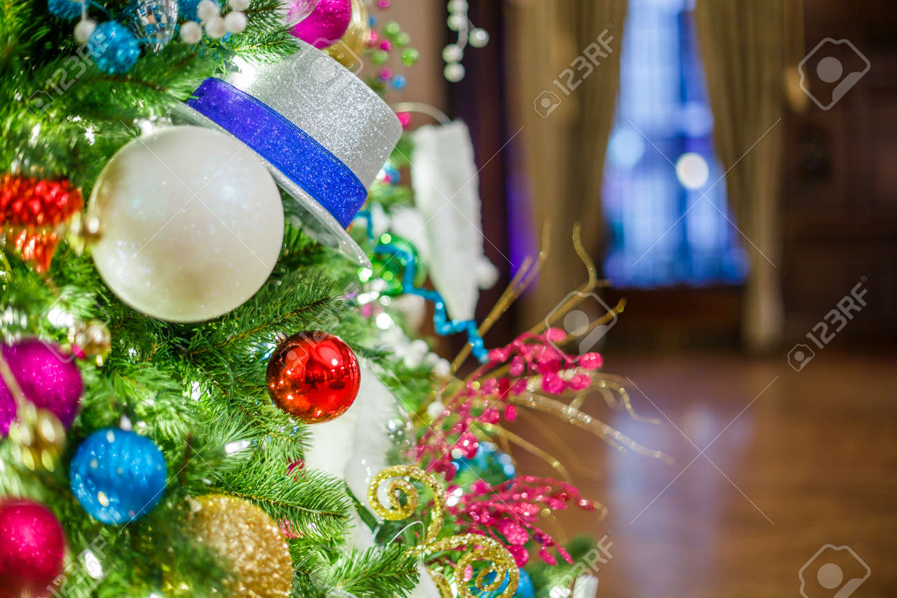 Christmas Tree With Christmas Decorations In The Hall