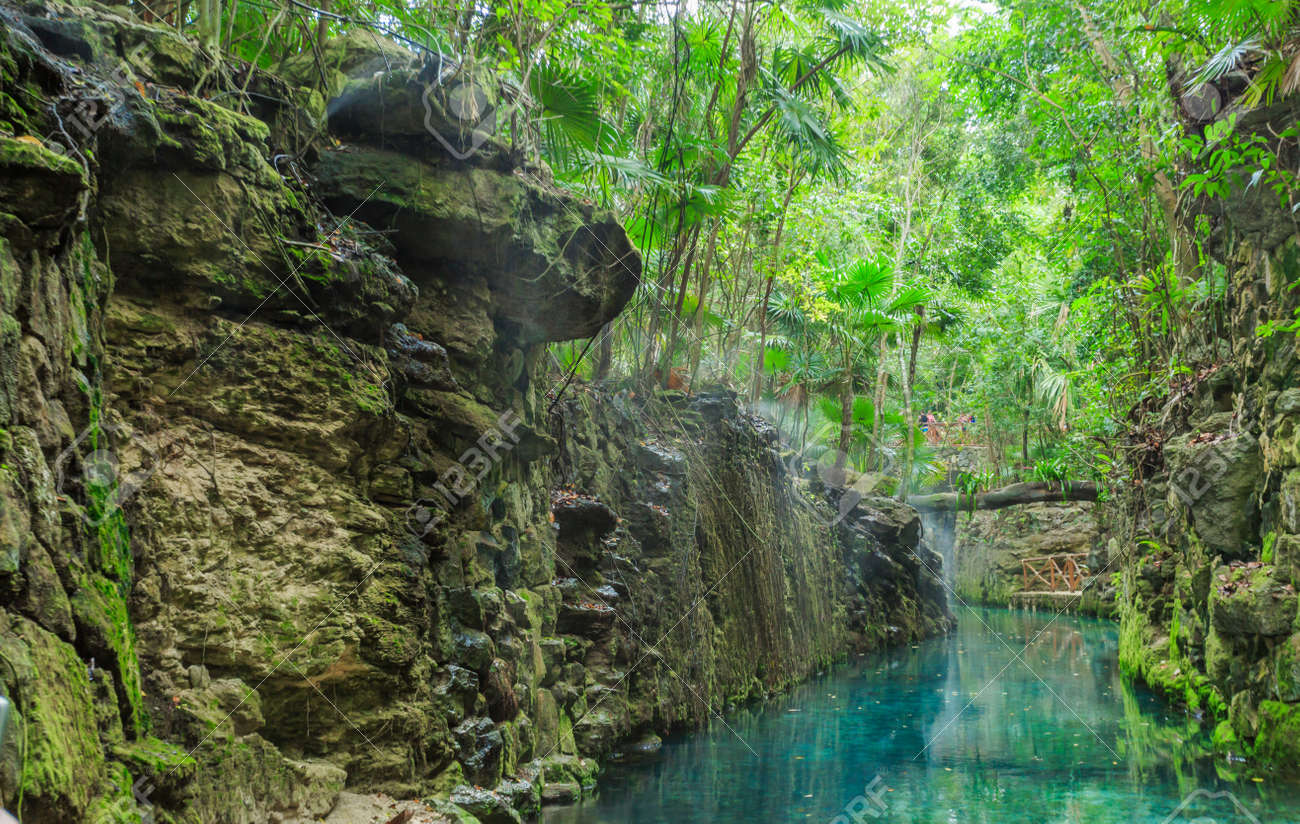 Blue River In Xcaret Mexico Stock Photo