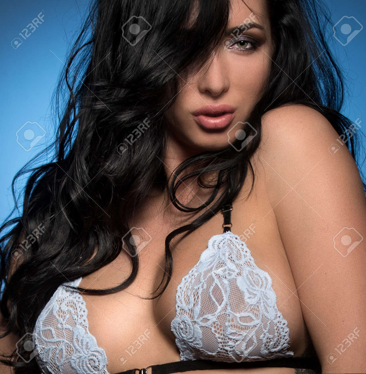 Beautiful And Sexy Girl Posing With Emotions In Erotic Clothes Stock Photo 92347964